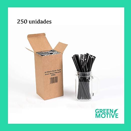 250 Pajitas de Papel Negras / 100% Biodegradables 6mm x 20cm ...