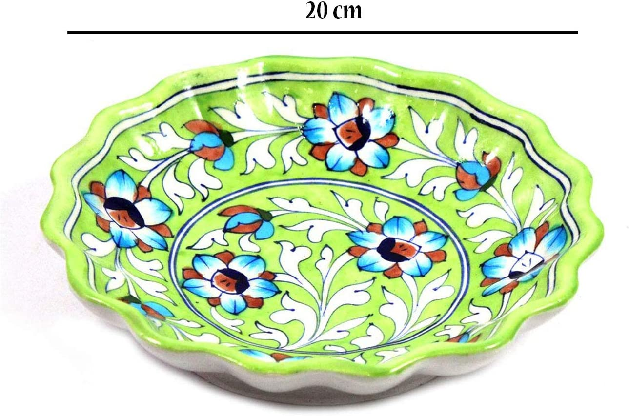 Dark Blue Exclusive Handmade and hand decorated Crafted Blue Pottery Flower Design Ceramic Serving Plate Or Platter Or Wall Hanging Wall Plate Use For Multi Purpose Gifting
