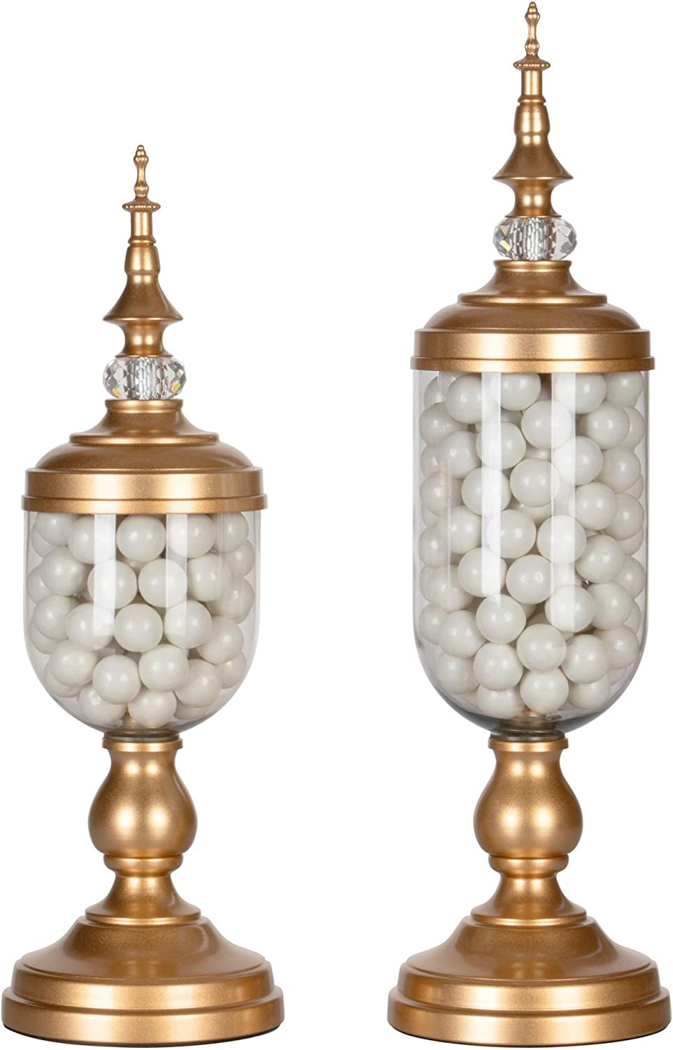 Amalfi Decor Apothecary Jars Clear Glass Candy Dish Holder with Metal Lids Cookie Jar Buffet Display, Gold, Set of 2