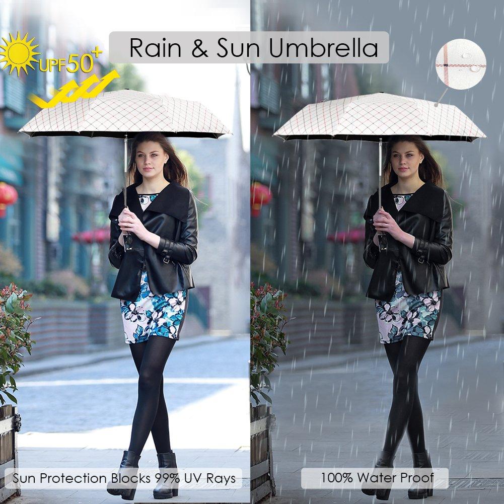 Rainbrace Sombrilla Paraguas Plegable Compacto para el Sol & Lluvia 99% de Protección UV con Revestimiento Anti-UV Negro, UPF50+,Abrir y Cerrar ...