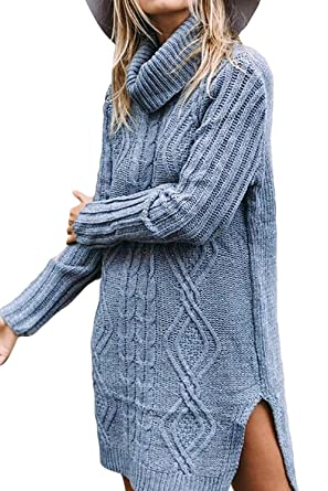 cd8dae01ad1 Fasumava Women Sweater Dress Winter Casual Turtleneck Long Sleeve Slit  Dresses Blue S