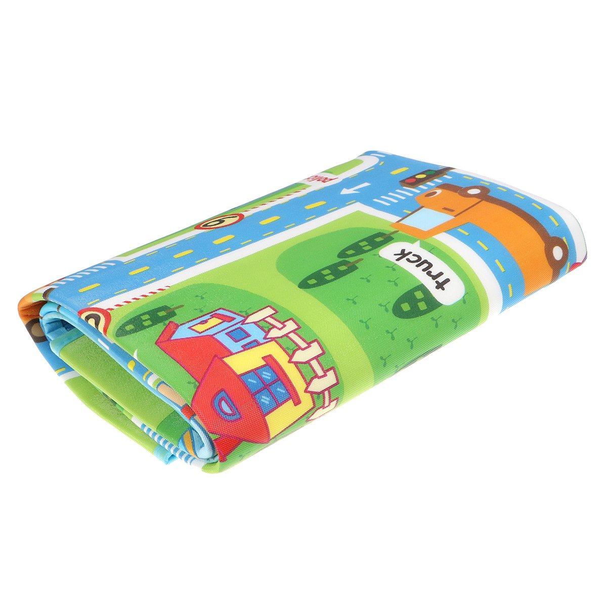 WINOMO Folding Baby Play Mat Moisture-Proof Street Map Children Learning Carpet Floor Carpet 130x160x0.5cm