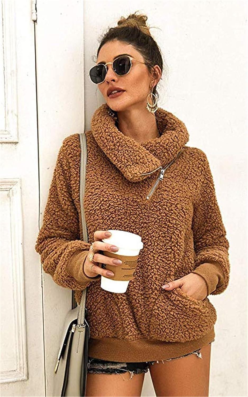 YEMOCILE Women Soft Faux Fur Zipper Oblique Cowl Neck Sweatshirt Pullover with 2 Pockets
