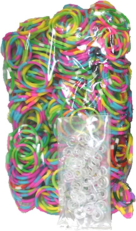 RUBBER BAND /& S-CLIP LOOM REFILL PACK  BRACELET 1200pc SILVER