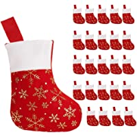 CCINEE 24PCS Christmas Stockings Decoration Snowflakes Stocking Red Fannel Faux Fur Xmas Stockings for Home Decor…