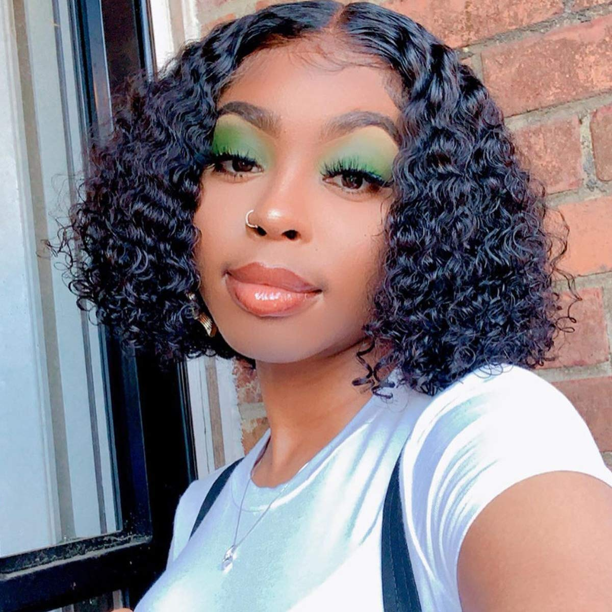 Bob Wigs Kinky Curly 13X6 Transparent Lace Front Wigs Human Hair with Pre Plucked Hairline Original Queen Hair Wigs for Women Natural Color 10Inch