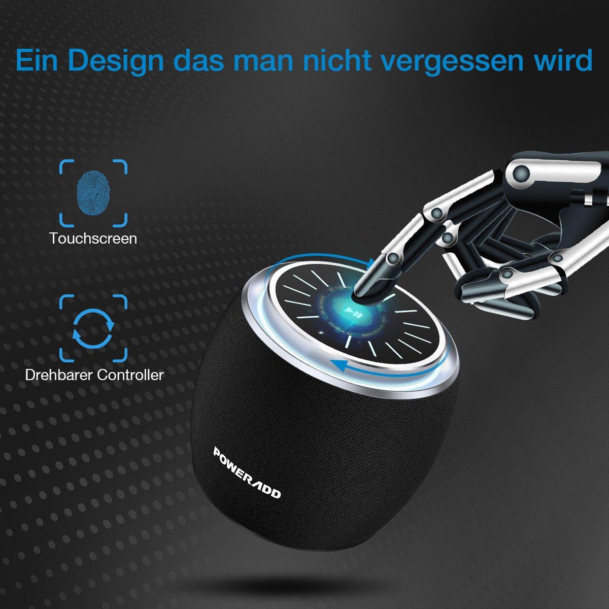 POWERADD Mobiler Bluetooth Lautsprecher, Musikbox mit robustem Bass und LED-Licht, Neueste Bluetooth Version 4.2 und 10 Stunden Spielzeit, viel Spaß in- und außerhalb des Zuhauses, Ideal beim Reisen, Sportmachen und Autofahren, schöne Musik