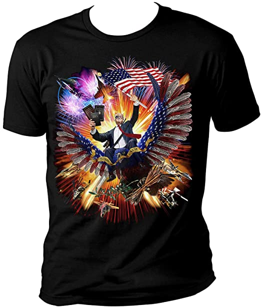 eb2483ed President Trump Riding an Eagle - Waving American US Flag - Make America  Epic Great Again