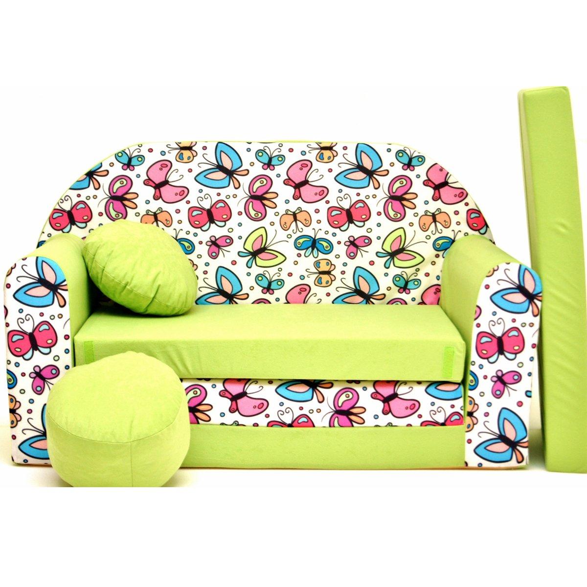 Z36di B Bambini divano pieghevole divano letto divano sofa Mini Couch 3in 1Baby Set + sedia per bambini e cuscino + MATERASSO