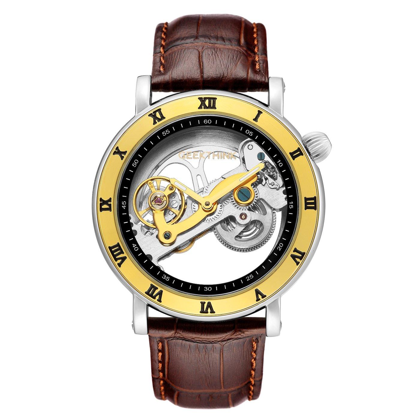 AFFUTE - Reloj de pulsera automático para hombre, correa de piel de esqueleto clásico, analógico, analógico, color marrón