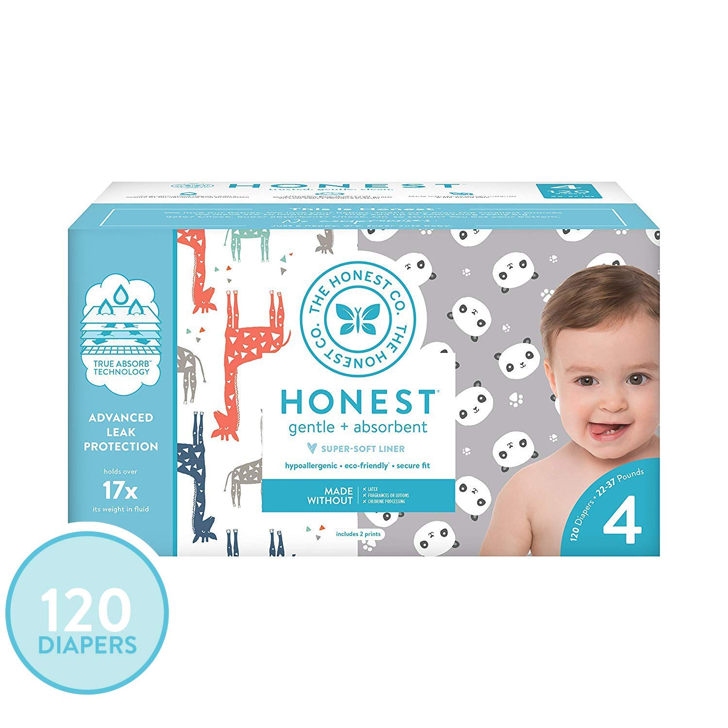 The Honest Company Super Club Box Diapers - Size 4 - Pandas & Safari Print | TrueAbsorb Technology | Plant-Derived Materials | Hypoallergenic | 120 Count by The Honest Company