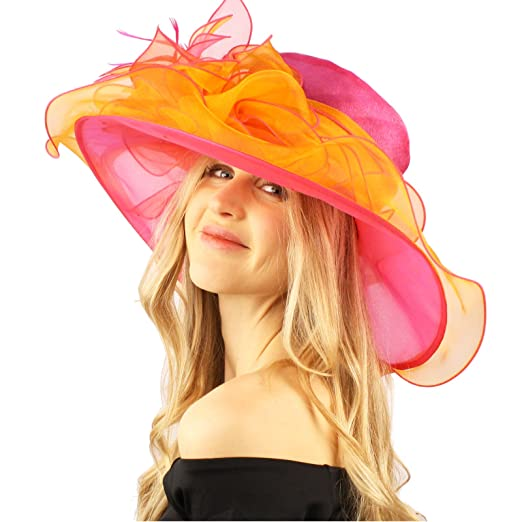 84aaff0a030 SK Hat shop Stylish 2 Tone Ruffle Feathers Derby Bucket Floppy Organza  Dressy Hat Fuchsia