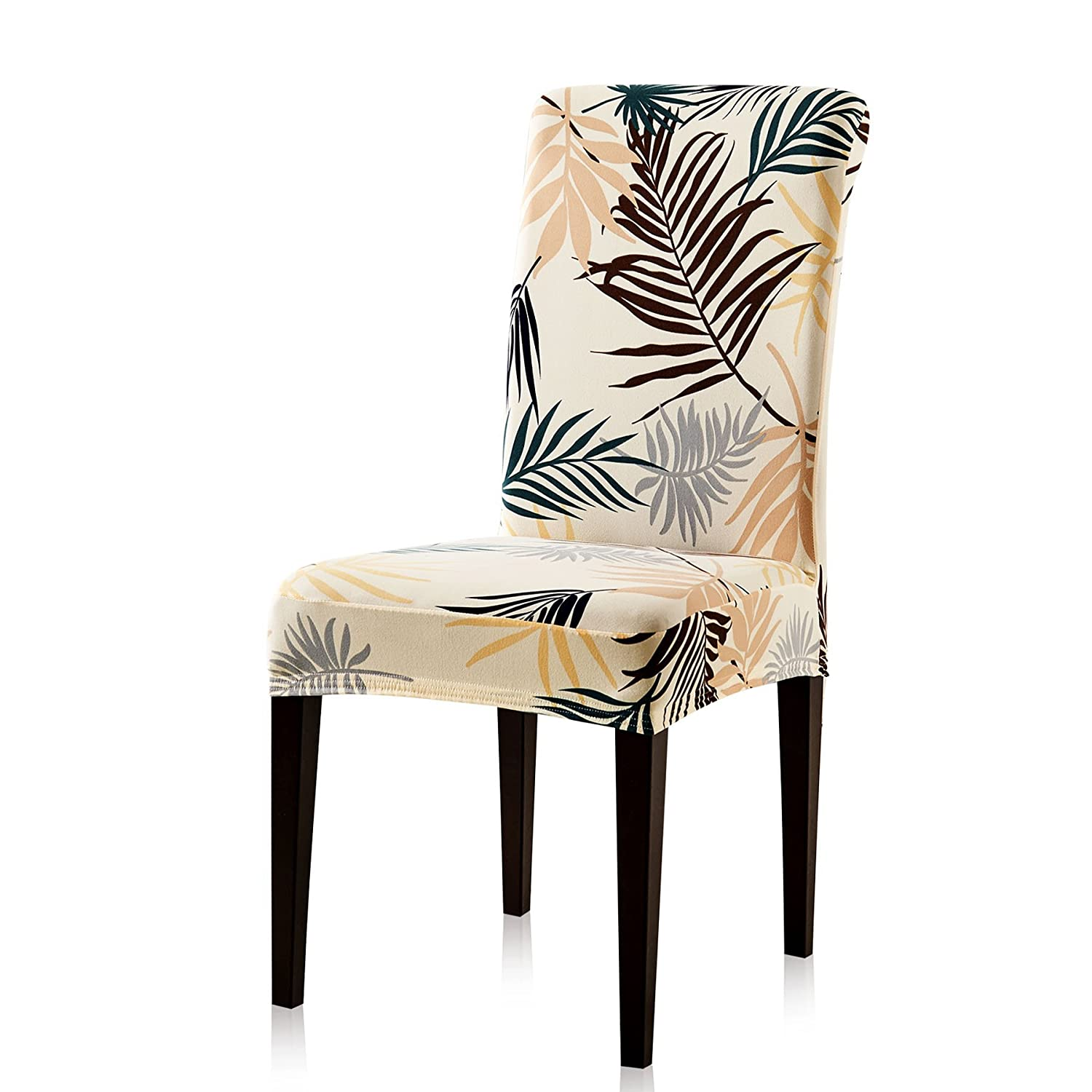 Subrtex Printed Leaf Stretchable Dining Room Chair