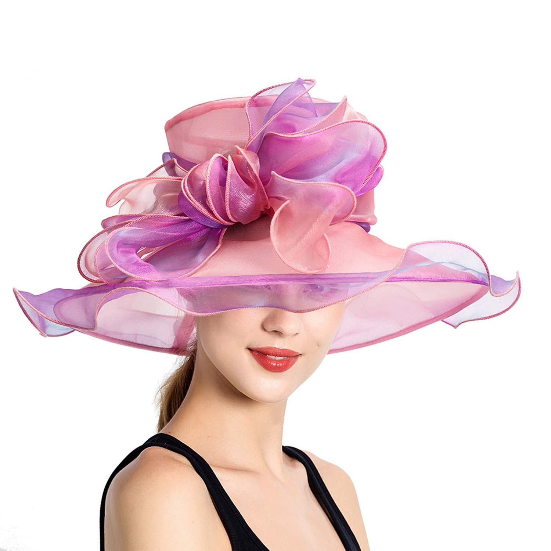 Organza Sun Hat Female, Bow Bridal Gown Party Hat, Church Derby Hat, Fashion Mesh Big Sun Visor Hat