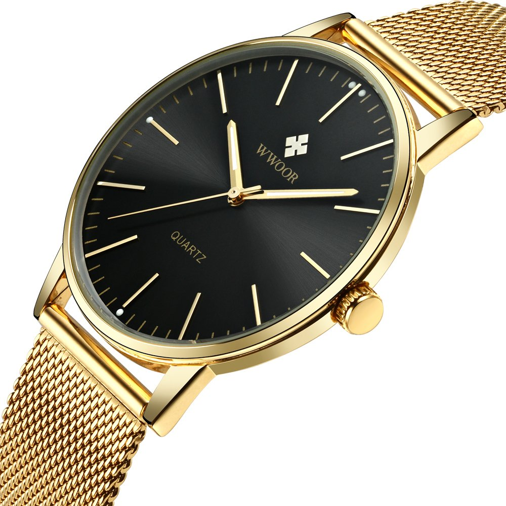 Simple Slim Mens Watch Analog Quartz Waterproof Gold Stainless Steel Mesh Band Thin Dress Wrist Watches for Men Black Dial