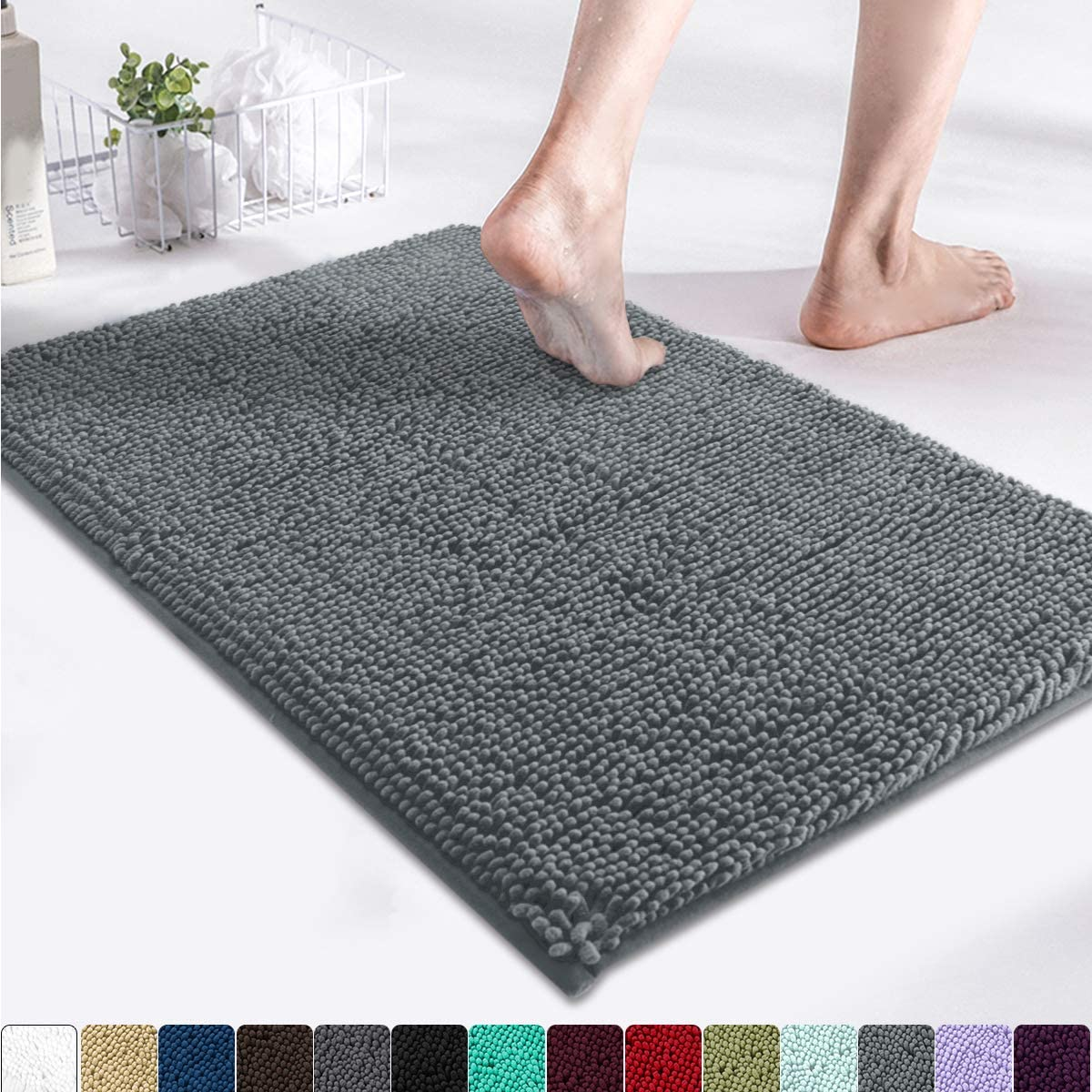 MAYSHINE Luxury Non Slip Chenille Bathroom Rug Shag Shower Mat(17x24 Inches) Machine Washable Bath Mats with Water Absorbent Soft Microfibers of Gray