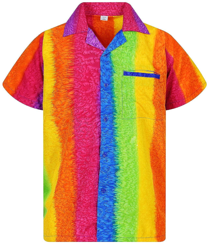 Front-Pocket Hawaiian-Print Short-Sleeve Rainbow Unique XS-12XL Funky Hawaiian Shirt Men Horizontal and Vertical