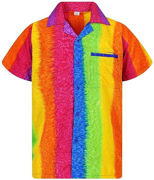 9fbfe562 Funky Hawaiian Shirt for Men Short Sleeve Front-Pocket Rainbow ...