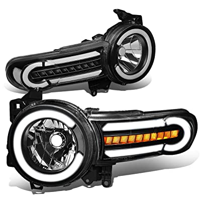 DNA Motoring HL-LB-FJC07-BK-CL1 Pair LED DRL+Sequential Chasing Turn Signal Headlight Lamps Set: Automotive