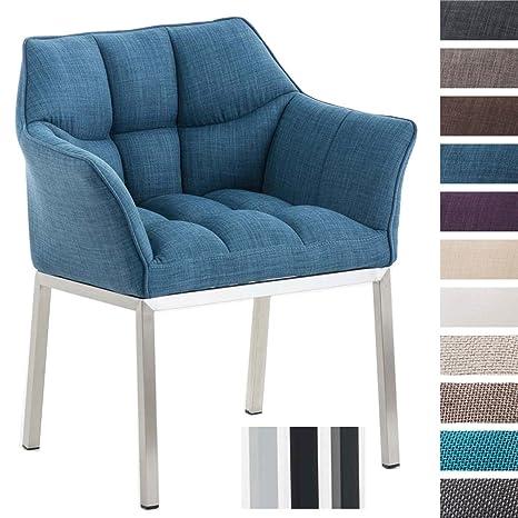 CLP Sillón de Chesterfield Octavia en Tela I Silla Sillón Moderna I Silla Butaca Estilo Loungue I Color: Azul, Acero Inoxidable