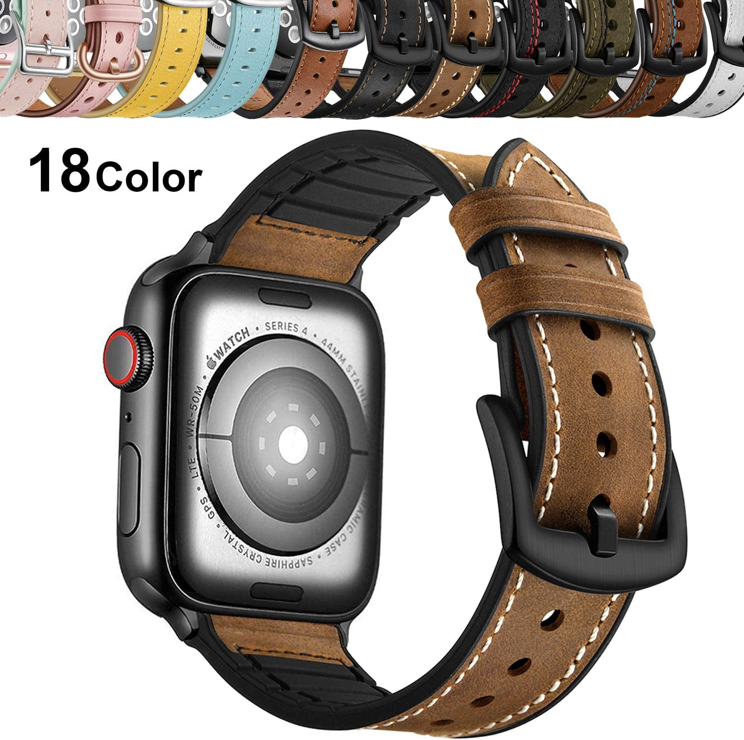Qeei Correa Compatible with Apple Watch 42mm 44mm,Sport Hybrid Style Silicone Genuino Banda de Cuero con Seguro Metal Band Replacement for iWatch Series 5 & 4 3/2/1,Brown