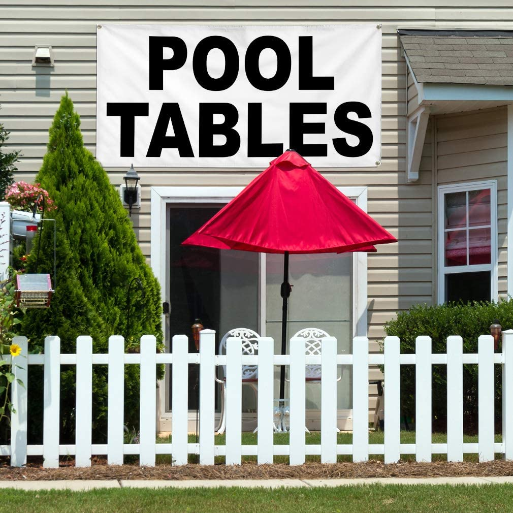 Vinyl Banner Multiple Sizes Pool Tables Black Business Outdoor Weatherproof Industrial Yard Signs 8 Grommets 48x96Inches