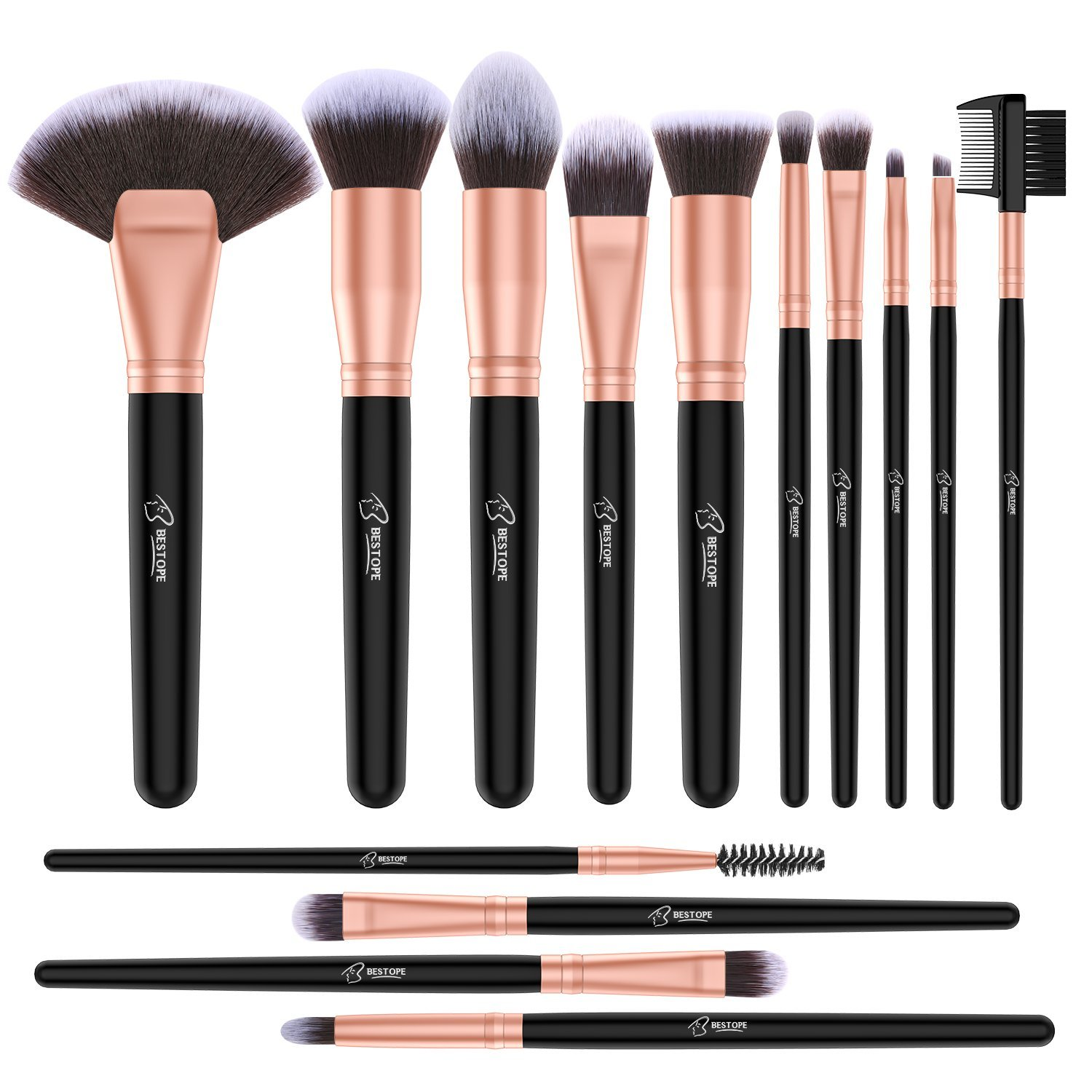 BESTOPE Makeup Brushes 10 Pieces Professional Makeup Brush Set Synthetic Kabuki Foundation Blending Concealer Blush Eye Face Lip Powder Cosmetic Brush(Golden Black) BESTOPE CA