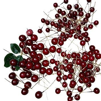 Merssavo 100 Pcs künstliche rote Stechpalmen-Beeren-Weihnachtsdekors ...