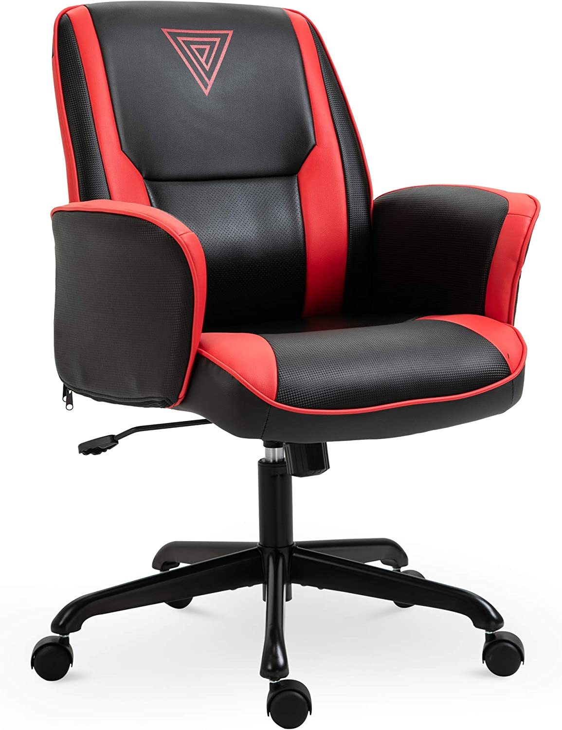 Vinsetto Breathable Faux Leather Office Computer Desk Chair for with an Adjustable Height & a Unique Racing Style, Red