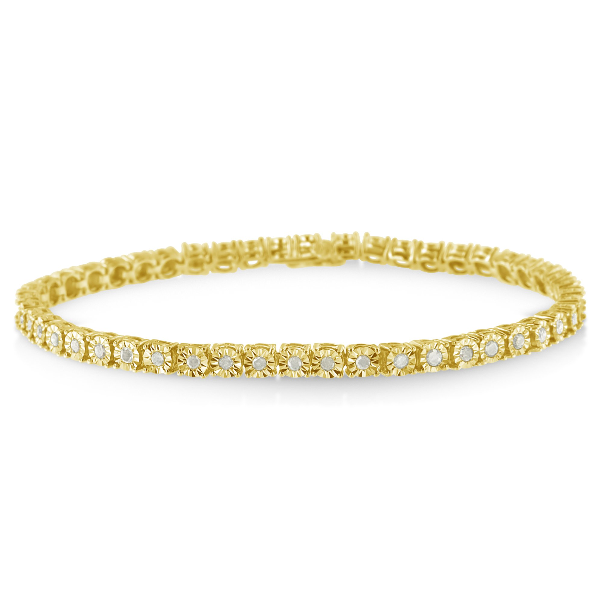 Sterling Silver Rose-Cut Diamond Miracle Tennis Bracelet (1.00 cttw, I-J Color, I3 Clarity) (Yellow)