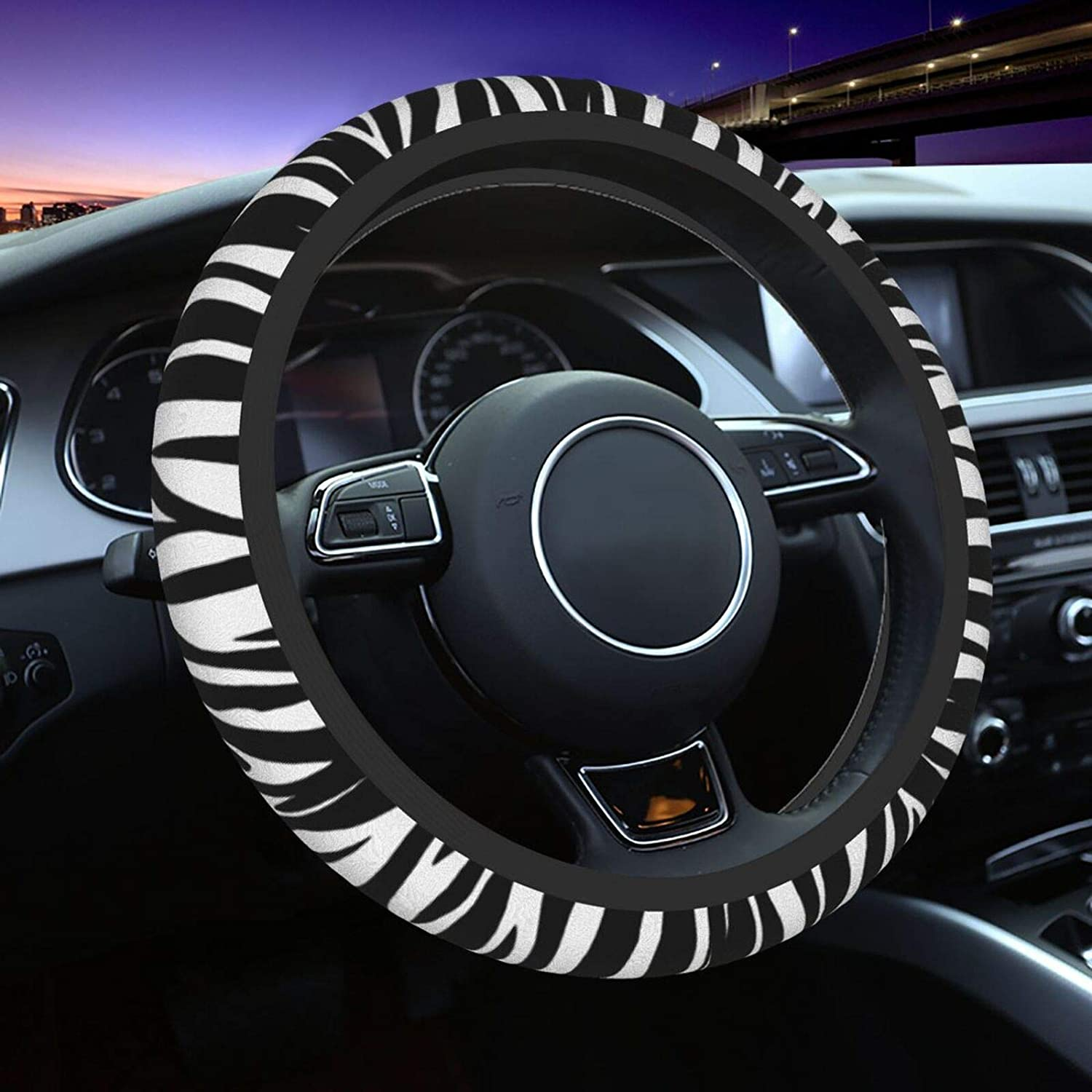 XINQIXAA Zebra Print Steering Wheel Cover Auto Steering Wheel Cover Protector Anti-Slip Durable Universal 15 Inch Fit Most of Car