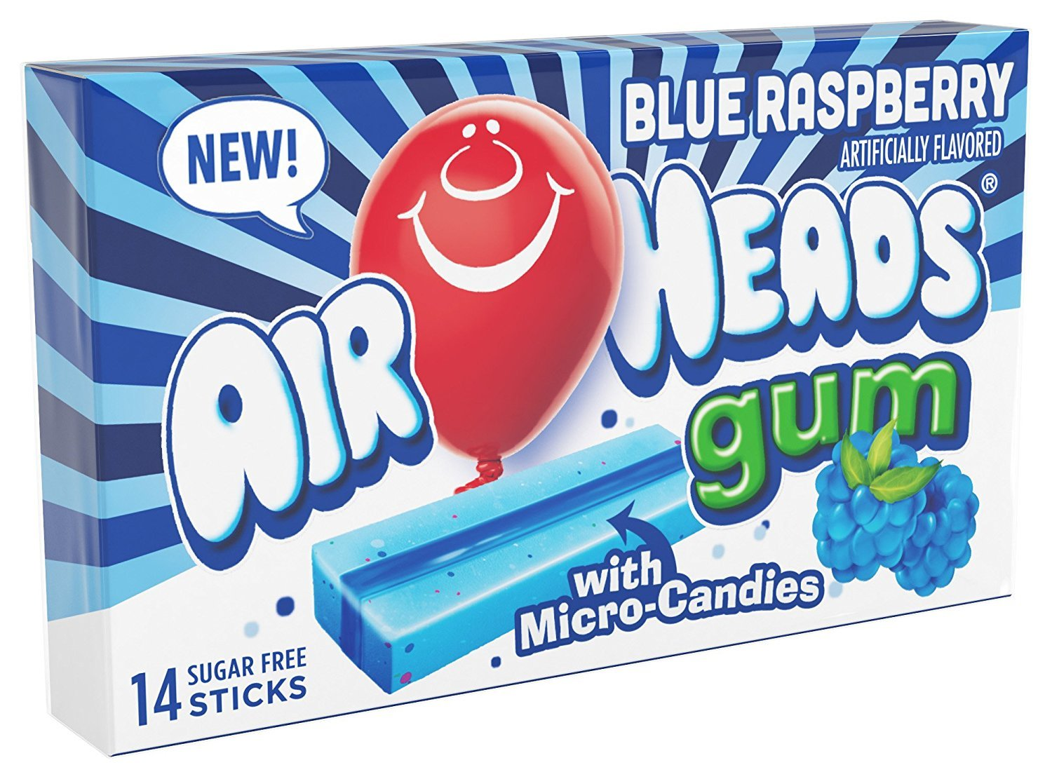 Airheads Candy Sugar-Free Chewing Gum with Xylitol, Blue Raspberry, 14 Sticks (Bulk Pack of 12) (73390013332)