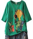 YESNO E03 Women Tee T-Shirts Handkerchief Hem Tops 100% Cotton Casual Loose Fit Asymmetric Hemline Crew Neck