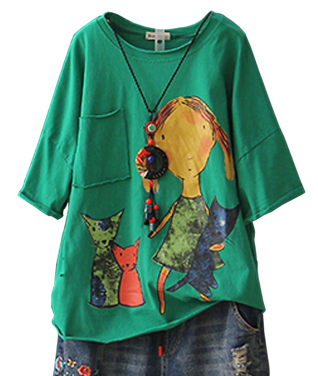 YESNO E78 Women Casual Loose Tee T-Shirts Tops 100% Cotton Cartoon Printed Rolled Hem Ripped Short Sleeve Pocket