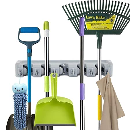 SUNAM Mop and Broom Holder, 5 Position with 6 Hooks Garage Storage Holds up to 11 Tools, Storage Solutions for Broom Holders, Garage Storage Systems Broom Organizer for Garage Shelving Ideas