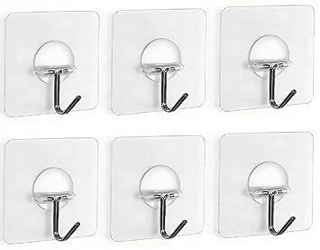 Fealkira 6 Stücke Haken Selbstklebend Wiederverwendbar Transparenter  Klebehaken Handtuchhaken Kleiderhaken Wasserfest Badezimmer Haken Ohne  Bohren Für