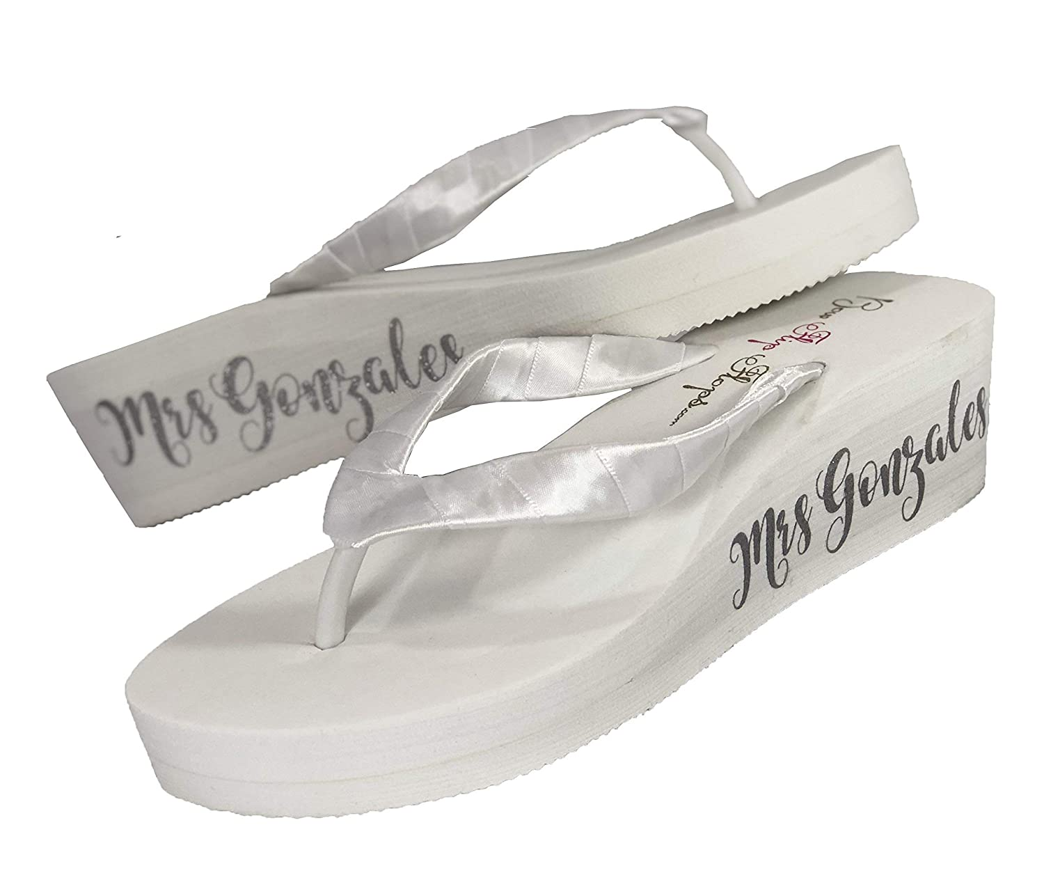 3.5-2 1.25 in Ivory or White Mrs Bridal Wedge Flip Flops with Fancy Script Lettering on Side of Wedding Sandal Shoes