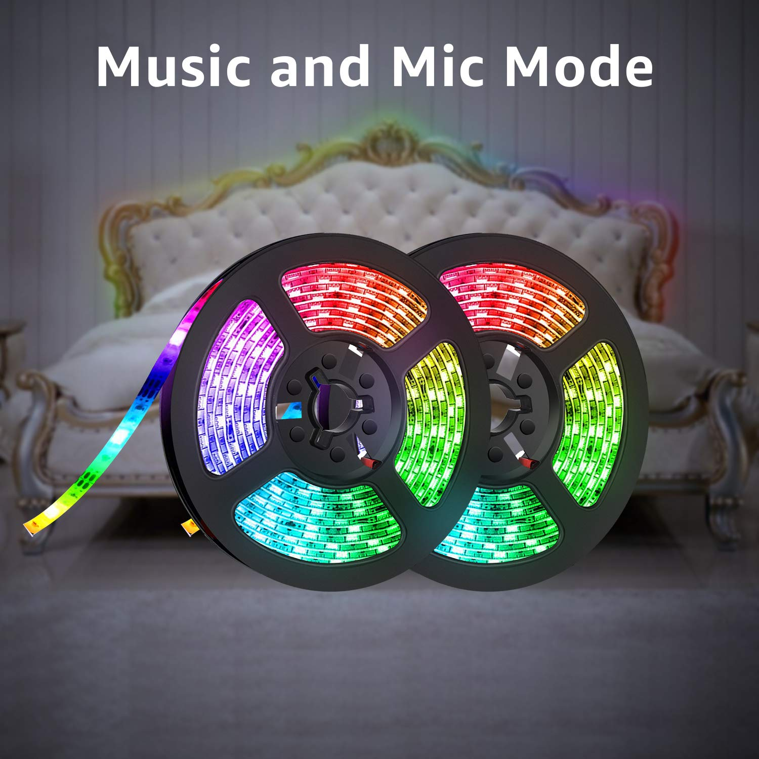 LED Strip Lights, HeySuun 32.8FT/10M 20Key RGB Light Strips, Music Sync Color Changing, Rope Light 600 SMD 3528 LED, IR Remote Controller Flexible Strip for Home Party Bedroom DIY Party Indoor Outdoor by HeySuun (Image #4)