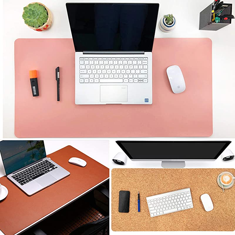 Aothia Eco-Friendly Natural Cork & Leather Double-Sided Office Desk Mat Mouse Pad Smooth Surface Soft Easy Clean Waterproof PU Leather Desk Protector...