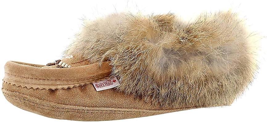 Rabbit Fur Fleece Lined Moccasin   Slippers