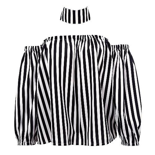 MIOIM Tops Camisa de Mujer Rayas de Manga Larga Camiseta de Hombro Libre con Cuello Loose Tops