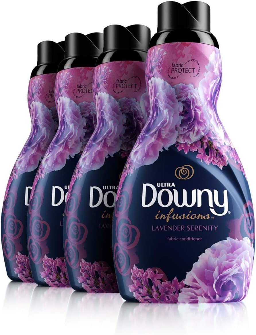 Downy Infusions Lavender Serenity Liquid Fabric Conditioner, 41 Fl Oz,Pack of 4