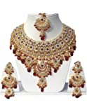 Finekraft Kundan Zircon Marvelous Gold Plated Choker Necklace Jewelry Set for Women