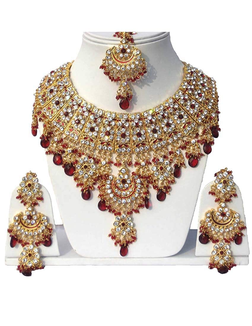 Fkraft Cubic Zirconia Latest Wedding Necklace Jewelry Set for Women Self Handmade FNS-DRD069