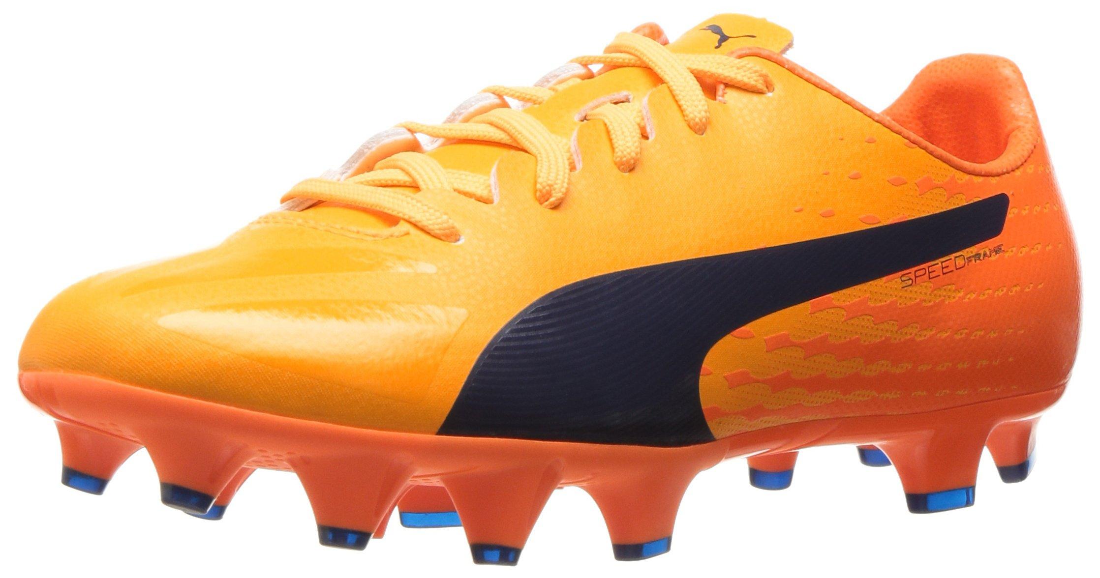 PUMA Kids' Evospeed 17 SL S FG Jr Skate Shoe, Ultra Yellow-Peacoat-Orange Clown Fish, 5 M US Big Kid