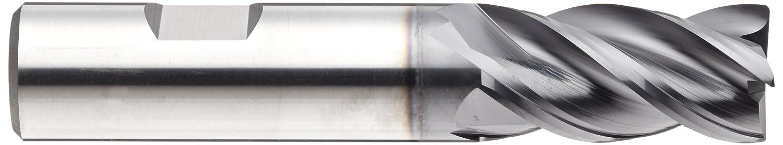 4 Flutes Vibration Resistant 0.625 Cutting Diameter Weldon Shank 3.5 Overall Length YG-1 EMB38 Carbide Corner Radius End Mill AlTiN Monolayer Finish 0.035 Corner Radius 0.625 Shank Diameter