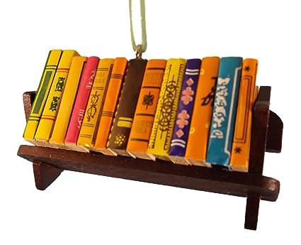 Stack Of Books Wood Bookshelf Christmas Tree Ornament