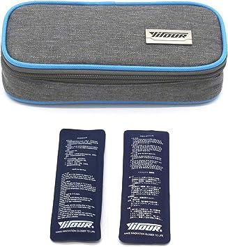 Bolsa de viaje de insulina, Bolso Enfriador De Insulina Caso del protector de la atención médica Organizador diabetico Estuche portátil para viaje + 2 bolsas de hielo (Azul): Amazon.es: Salud y cuidado