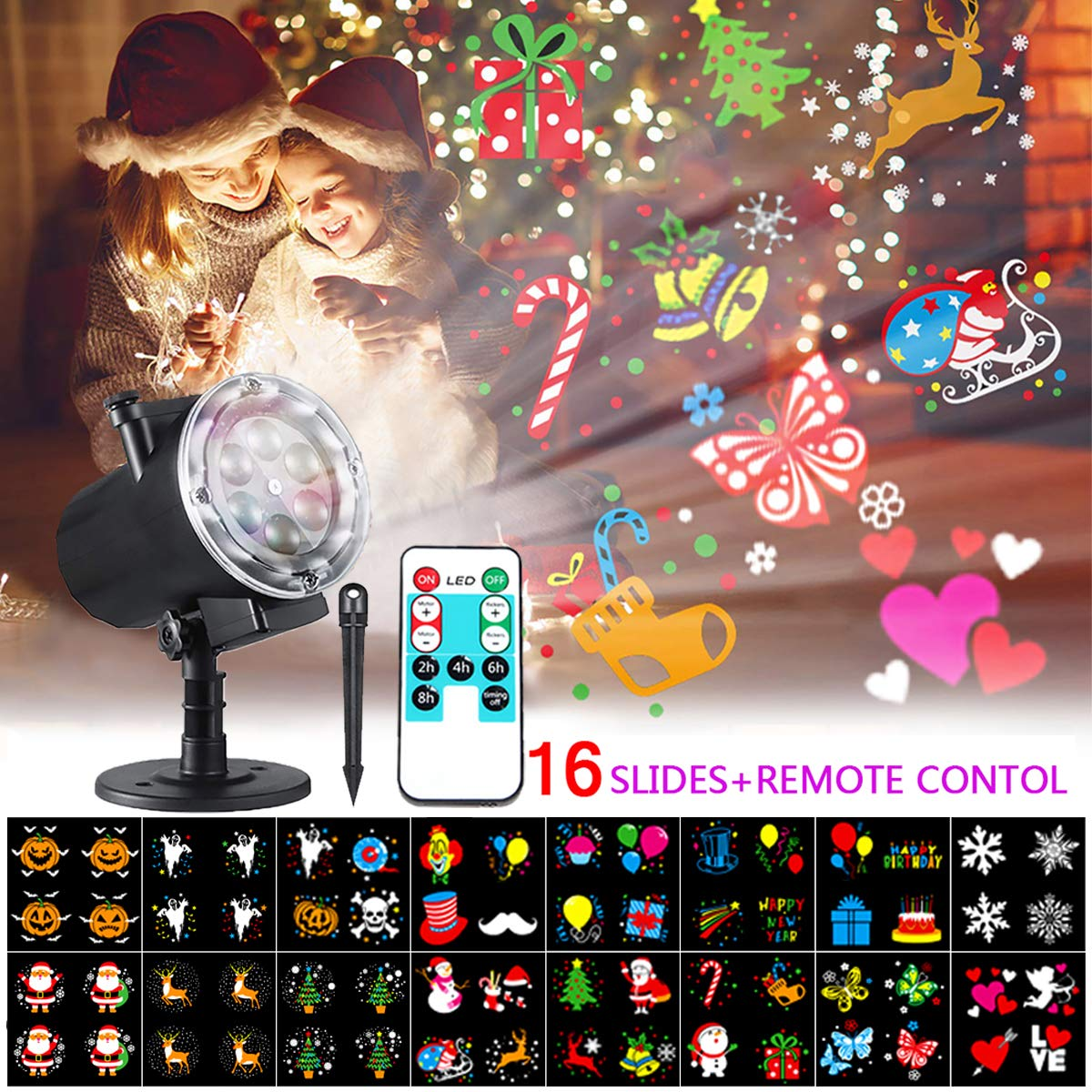 LED Projektionslampe Ostern Valentinstag Geburtstag Bosunny Weihnachtsprojektor Lichter mit 16 Austauschbare Patterns und RF-Fernbedienung f/ür Weihnachten Neujahr Party