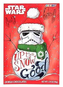 Star Wars Snowman Stormtrooper Milk Chocolate Candy Filled 2019 Christmas Advent Calendar, 13 3/4 Inch